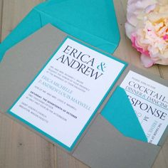 GRAY AND TURQUOISE POCKET WEDDING INVITATION WITH MONOGRAM BAND  This listing is for either a SAMPLE ($7.95), OR DEPOSIT ($100). Please read