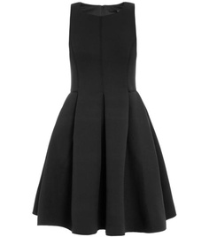 Neoprene sleeveless dress  by Tibi. Chinese made black neoprene sleeveless round neck hidden centre-back zip fitted top full pleated skirt side pocket mini dress. Material: 96% polyester and 4% elastane. Lining: 100% polyester, dry clean. #Matchesfashion