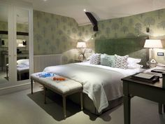 Broadway, a Standard room, decorated in calming sage green, at Calcot Manor Hotel, Restaurants & Spa, near Tetbury, The Cotswolds, England http://www.calcotmanor.co.uk/hotel-rooms-and-suites/