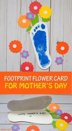 Footprint flower card for kids to make for Mother's Day. #mothersday #footprintcraft #kidscraft