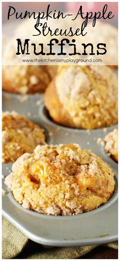 Apple Streusel Muffins 2 fall flavors are perfect together! The Kitchen is My , Apple Streusel Muffins, apple s. Apple Recipes, Pumpkin Recipes, Fall Recipes, Snack Recipes, Dessert Recipes, Autumn Muffin Recipes, Pumpkin Apple Recipe, Vegan Pumpkin, Christmas Recipes