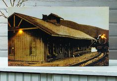 Train lighted picture.  A train pulls into the station. Radiance Lighted Canvas at Shelley B Home and Holiday.com