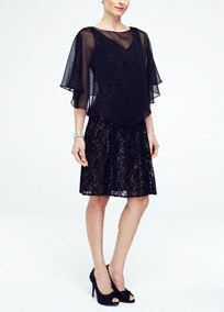 Make an enduring impression inthis ultra-feminine two piece lace and chiffon caplet dress!  Sleeveless all over lace bodice with v neckline thathighlights the face beautifully.  Features chiffon removablecaplet for extra coverage.  Fully lined. Back zip. Imported nylon/rayon blend. Dry clean only.