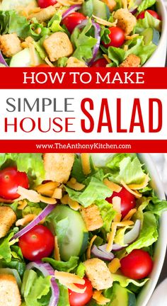 Simple Salad Recipe | A classic house salad featuring crisp lettuce, tomatoes, croutons, cheese, and cucumbers. Perfect for a quick lunch or a dinnertime side salad. #salad #housesalad #theanthonykitchen #sidedish
