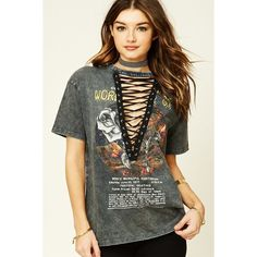 Forever 21 Women's  Lace-Up Tour Tee ($18) ❤ liked on Polyvore featuring tops, t-shirts, laced tops, forever 21, lace up t shirt, forever 21 tee and lace-up tops