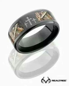 Camo Ring With A Cross Or Plain Camo For The Guys Wedding Band
