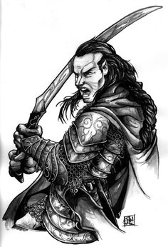 Elrond drawing, fighting with GilGalad