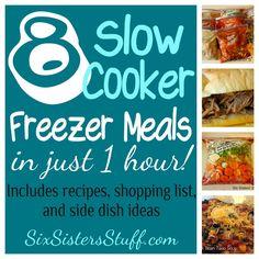 8 Slow Cooker Freezer Meals {BBQ Spareribs, Black Bean Taco Soup, Chicken Broccoli Alfredo, Chicken Cacciatore, French Dip Sandwiches, Hearty Beef Stew, Maple Dijon Glazed Chicken, Cilantro Lime Chicken}