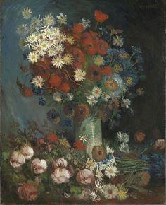 Nuevo cuadro de Vincent Van Gogh - Naturaleza muerta con rosas y flores de campo