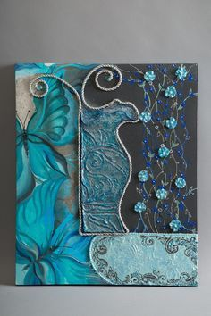 "Diptych ""in blue"" - shop online on livemaster with shipping Clay Wall Art, Canvas Wall Art, Art Prints For Home, Acrylic Painting Techniques, Mural Art, Gravure, Acrylic Art, Collage Art, Art Projects"