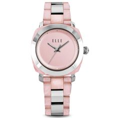 ELLE TIME Watch featuring Small-Size Two-Tone Pink and Steel Case, Pink Dial and Steel Band
