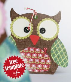 Free template: Owl gift box.