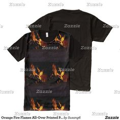 Orange Fire Flames All-Over Printed Panel T-Shirt