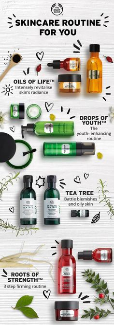 Time for a new skincare routine? We can help you put together the right routine . Body Shop Tea Tree, The Body Shop Gifts, Body Shop At Home, Body Shop Toner, Body Shop Skincare, Top Skin Care Products, Skin Care Tips, Acne Products, Body Shop Products