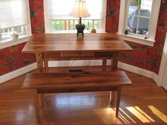 18. Reclaimed Oak Table with Front Drawer, and Bench     Reclaimed Innovations