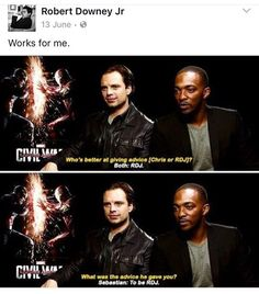 Sebastian Stan and Anthony Mackie are two of the funniest actors in the MCU. They portray the roles of Falcon and Winter Soldier in the Marvel movies, respectively. Funny Marvel Memes, Marvel Jokes, Dc Memes, Avengers Memes, The Avengers, Marvel Dc Comics, Marvel Heroes, Avengers Imagines, Sebastian Stan