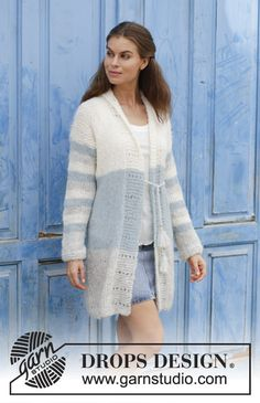 Greek Melody  - Knitted jacket with stripes, lace pattern and shawl collar. Size: S - XXXL Piece can be worked in 2 strands DROPS Brushed Alpaca Silk or 1 strand DROPS Melody. Free knitted pattern DROPS 186-39