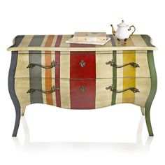 dresser painted with stripes