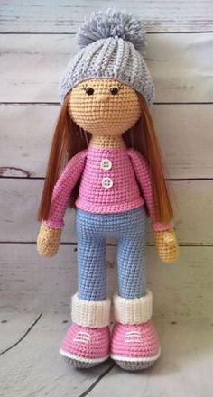 Crochet Sarahi bambola, viola vestito, bambola Amigurumi ... | 440x236