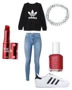 School outfit by ivey-byrd on Polyvore featuring polyvore, fashion, style, adidas, ASOS, Benefit and Essie