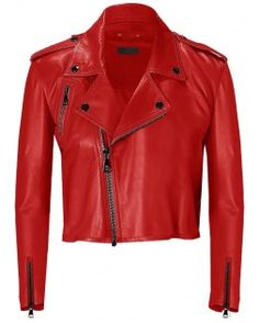 Groovy Women's Slim Red Short Leather Jacket