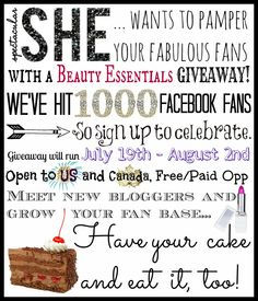 Blogger Opp Signups: Beauty Essentials Giveaway by Spectacular She - Spectacular She