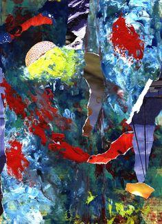 Espiritualidad Contemporánea: LA CEGUERA DE LA NUCA collage en acrílico sobre papel de José Vega poema del libro La Ceguera de la Nuca de Moni Indiveri de Vega