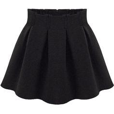 Choies Black Pleated Mini Skirt (61.680 COP) ❤ liked on Polyvore
