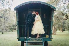 Gypsy Caravan photo ♥ Vintage-Inspired Australian Wedding With A Yellow Dress: Edyta   Matt