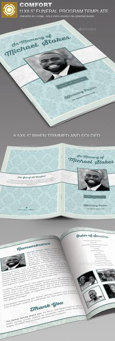 Buy Comfort Funeral Program Template by loswl on GraphicRiver. Comfort Funeral Program Template is great for any memorial or funeral event. Memorial Cards, Funeral Memorial, Funeral Planning, Service Program, Stencil Templates, Inevitable, Banner Design, Brochure Template, How To Plan
