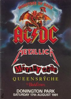 Monsters of rock concert posters | AC/DC / MOTLEY CRUE 1991 MONSTERS OF ROCK TOUR PROGRAM BOOK