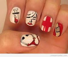Try this manicure style to add some style to your scrubs! Chic Nails, Fun Nails, Nurse Nails, College Graduation, Graduation Nails, App, Nail Colors, Scrubs, Manicure