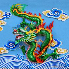 Photo about Green chinese dragon at the wall of temple, Thailand. Image of chinese, asian, religious - 14570076 Chinese Dragon Drawing, Chinese Dragon Tattoos, Japanese Dragon, Dragon Boat, Green Dragon, Fire Dragon, Meaningful Drawings, Phönix Tattoo, Phoenix