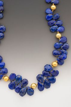 Starry, Starry Night Large roughly-faceted deep navy-hued Afghani lapis lazuli briolettes, each with subtle splashes of fools gold - golden pyrite - interspersed with 18K accents.