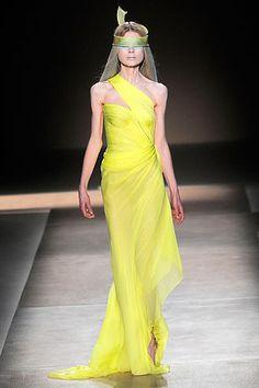 Valentino Haute Couture Spring 2010 HC Neon Yellow Chiffon Gown