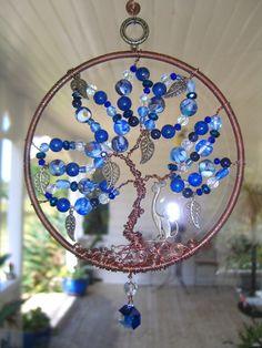 All the blue gemstones Tree of Life suncatcher