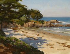 Morning, Carmel Beach by Laurie Kersey Oil ~ 11 x 14