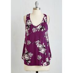 Mid-length Sleeveless Infinite Options Top ($30) ❤ liked on Polyvore featuring tops, purple, apparel, knit top, sleeveless knit, floral top, sleeveless tank, purple top, sleeveless tops and v-neck tops