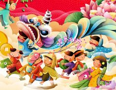 the Tet holiday Chinese New Year Cake, Chinese New Year 2017, New Year Greeting Cards, New Year Greetings, Spring Cartoon, Happy Mid Autumn Festival, Dragon Dance, Red Packet, Lion Dance
