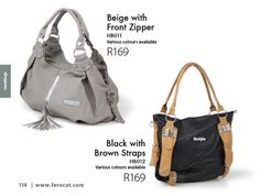 Front zipper bag and bag with brown straps from the Ferocat catalogue. www.ferocat.com/product-catalogue/gallery/ #fashion #handbags Stylish Handbags, Black Handbags, Fashion Handbags, Product Catalogue, Zipper Bags, Gym Bag, Backpacks, Beige, Gallery