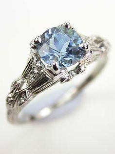 Platinum Aquamarine Antique Edwardian Ring