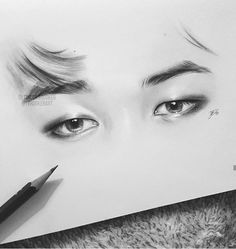 Jimin's eyes. Jimin Fanart, Kpop Fanart, Kpop Drawings, Pencil Art Drawings, Drawing Sketches, Bts Jimin, Bts Eyes, Bts Pictures, Photos