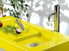 Colorful Neon Yellow Sink And Counter Top - http://homeypic.com/colorful-neon-yellow-sink-and-counter-top-2/