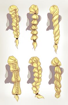 """Got round to colouring these. Rapunzel hair concepts for my and Emily's Rise of the Brave Tangled Dragons webcomic. ""dreamwips: ""Got round to colouring these. Rapunzel hair concepts for my and Emily's Rise of the Brave Tangled Dragons webcomic. How To Draw Braids, How To Draw Hair, Art Reference Poses, Drawing Reference, Hand Reference, Anatomy Reference, Design Reference, Drawing Tips, Drawing Sketches"