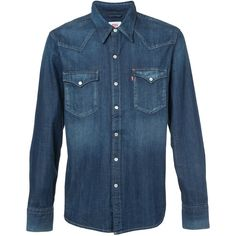Levi's button-down shirt (€62) ❤ liked on Polyvore featuring men's fashion, men's clothing, men's shirts, men's casual shirts, blue, mens blue shirt, mens button down shirts, mens navy blue button up shirt and mens button up shirts