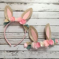 Woodland Birthday Bunny Ears Bunny Headband by VivibellesBows