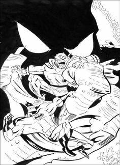 Batman vs Etrigan, tinta china, pincel y plumín sobre papel de bocetar, 32,5 x 21 cm, 2011  Copia de portada del comic de la serie animada Batman´s Adventures de Bruce Timm