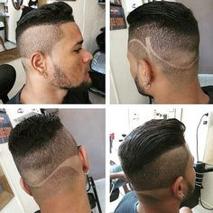 men's undercut hairstyle with shaved designs