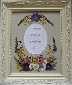 The Pressed Garden ~ Pressed Flower Art ~ Garden Flowers Preserved and arranged around the photo of a loved one. www.pressedgarden.com