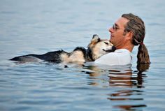 John Unger found that resting in the cool waters of Lake Superior was the only way to lull his arthritic dog to sleep, so he would take a dip with Schoep every day.